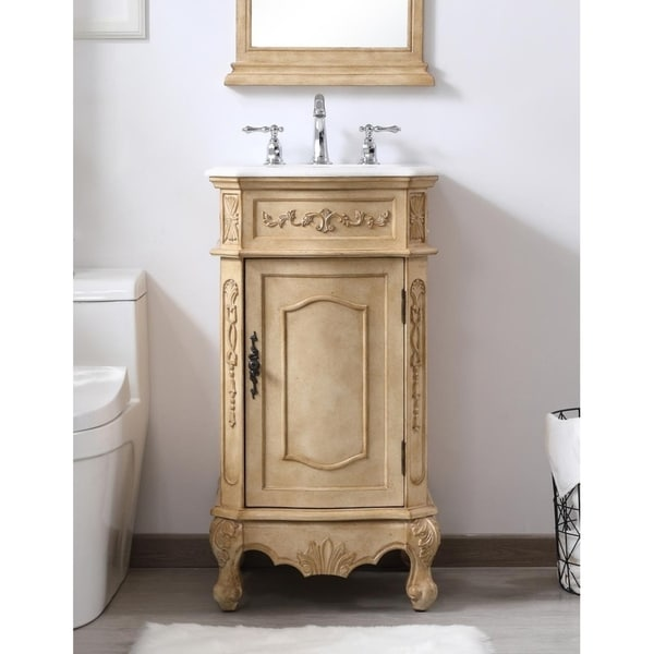 Shop Indigo Home White Porcelain Top Beige 19 Inch Single Bathroom