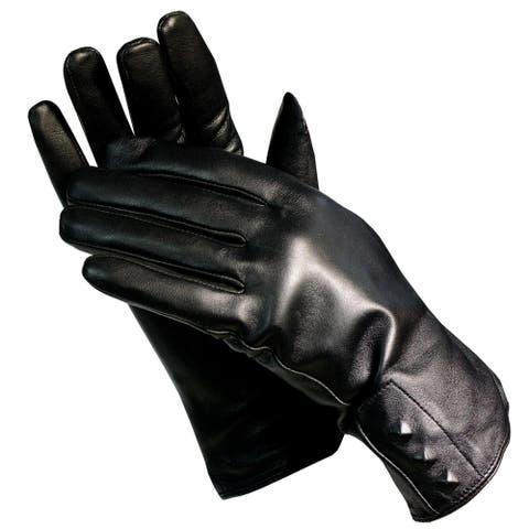 Isotoner A56215 Women's Lined Leather Gloves Black