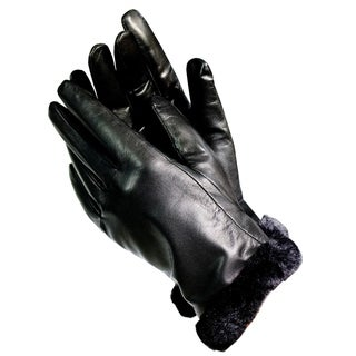Isotoner A56212 Women's Lined Leather Gloves With Faux Trim