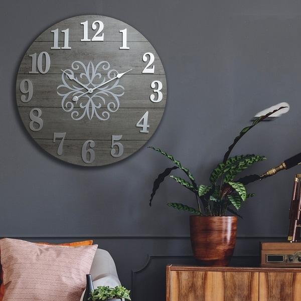 "Patton Wall Decor 30"" Washed Gray Wood Plank Frameless Wall Clock"
