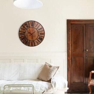 "30"" Rustic Wood Plank and Metal Frameless Farmhouse Wall Clock"