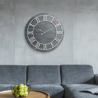 Rustic Washed Grey Wood Plank 36-inch Frameless Wall Clock