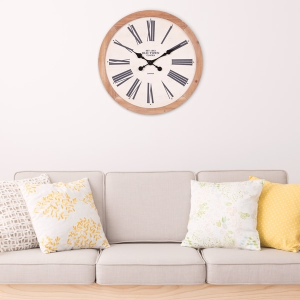 """Patton Wall Decor 22"""" Rustic Wood Old Town Roman Numeral Wall Clock"""