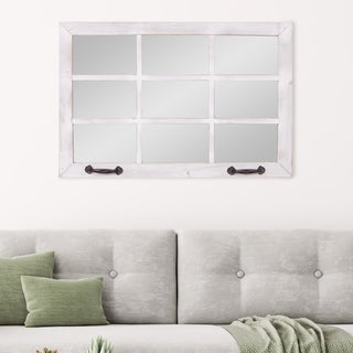 Distressed White Wood Windowpane Wall Accent Mirror
