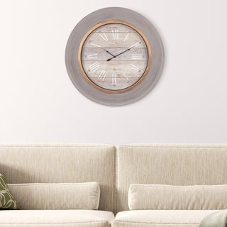 """24"""" Round Distressed Blue Modern Slope Framed Wall Clock"""