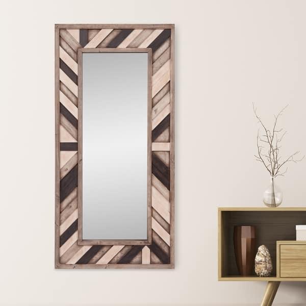 Shop Patton Wall Decor Rustic Grey Wood Plank Framed Wall Mirror Overstock 25457406