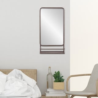 Patton Wall Decor Bronze Finish Accent Wall Mirror with Shelf