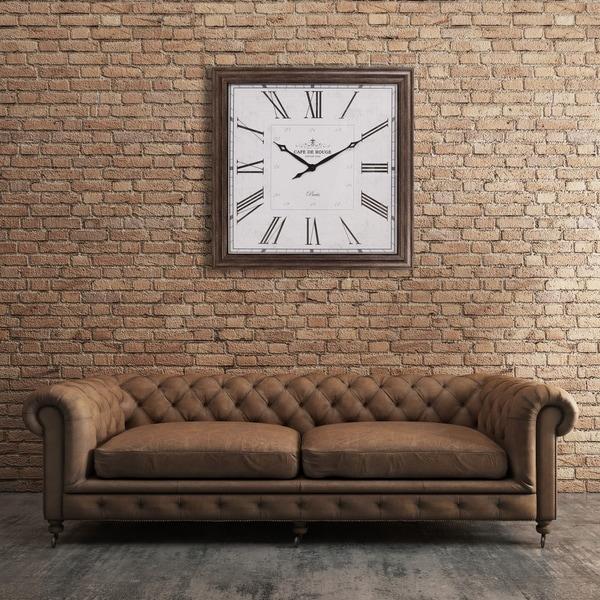 40-inch Distressed Gunmetal Roman Numeral Square Wall Clock