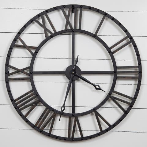 Gallery Solutions Oversized Black/Bronze Metal Wall Clock
