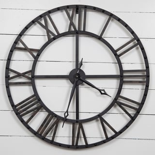 Shop Bostonian 32 Inch Rustic Black Wall Clock Free