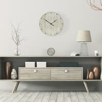"12"" Frameless Rustic Whitewash Wood Plank Wall Clock"