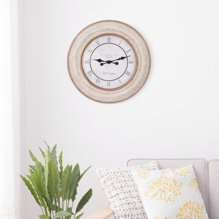"""30"""" Distressed White and Bronze Roman Numeral Wall Clock"""
