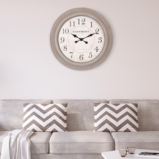 "Link to Patton Wall Decor 24"" Washed Grey Woodgrain Circle Wall Clock Similar Items in Decorative Accessories"