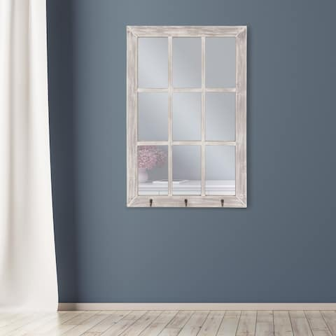 Distressed White Windowpane Wall Mirror with Hooks