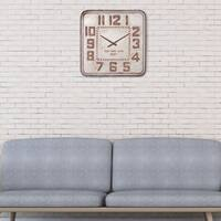 "24"" Galvanized Metal Retro Industrial Square Wall Clock"