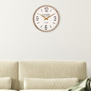 "Patton Wall Decor 16"" Glenmont Gold Metallic Wall Clock"