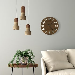 "12"" Frameless Rustic Walnut Plank Wall Clock with Galvanized Numbers"