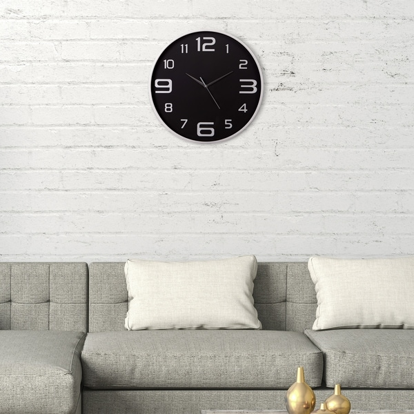 "Patton Wall Decor 18"" Silver and Black Wall Clock"