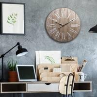 "20"" Rustic Light Natural Wood Plank Frameless Farmhouse Wall Clock"