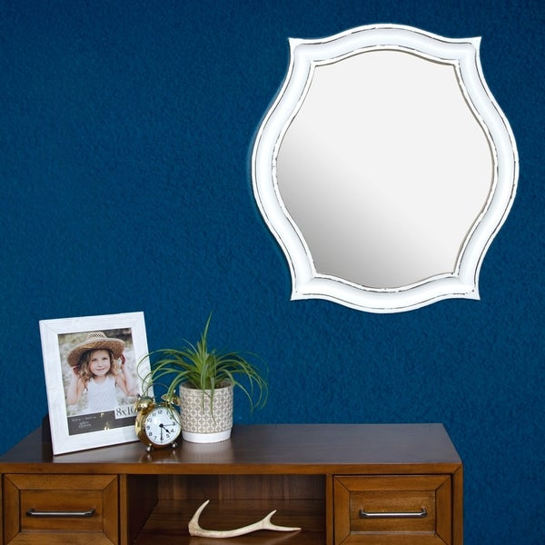 Gallery Solutions Whitewash Wood Scallop Framed 29.9-inch x 27.6-inch Wall Mirror