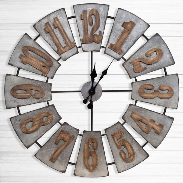 Gallery Solutions Oversized Metal and Wood Windmill Wall Clock. Opens flyout.
