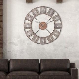 "Patton Wall Decor 36"" Galvanized Metal and Wood Windmill Clock"