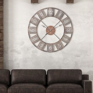 "Patton Wall Decor 36"" Galvanized Metal and Wood Windmill Clock"