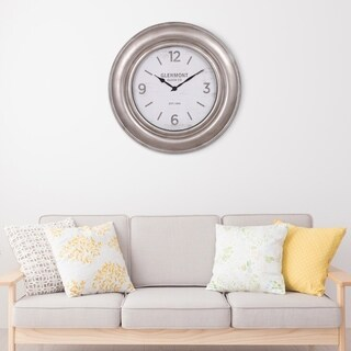 "Patton Wall Decor 30"" Glenmont Wide Silver Framed Wall Clock"