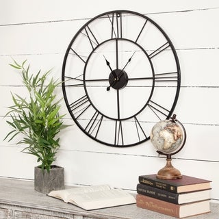 """Gallery Solutions 24"""" Metal Cutout Roman Numeral Wall Clock"""