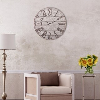 """28"""" Rustic Galvanized Metal Planked Frameless Wall Clock"""