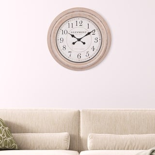 """Patton Wall Decor 24"""" Round Distressed Champagne Framed Wall Clock"""