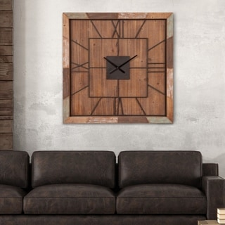 Distressed Brown Wood Plank and Metal Square 40-inch Oversized Square Wall Clock