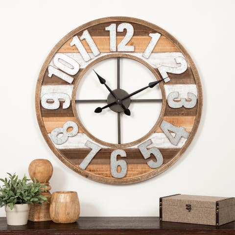 "Gallery Solutions 33"" Rustic Reclaimed Wood and Metal Wall Clock"
