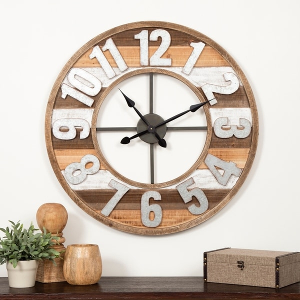 "Gallery Solutions 33"" Rustic Reclaimed Wood and Metal Wall Clock. Opens flyout."