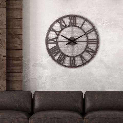 Patton Wall Decor Rustic Galvanized Metal Cut Out Wall Clock