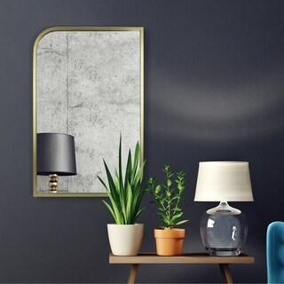Gold Metal-framed Rectangular Wall Mirror