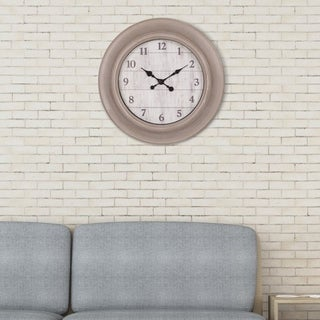 "Patton Wall Decor 24"" Taupe and Whitewash Woodgrain Wall Clock"