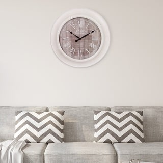 "Patton Wall Decor 24"" Whitewash and Gray Woodgrain Wall Clock"
