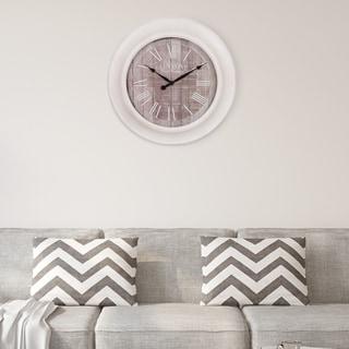 "Patton Wall Decor 24"" Whitewash and Gray Woodgrain Wall Clock"