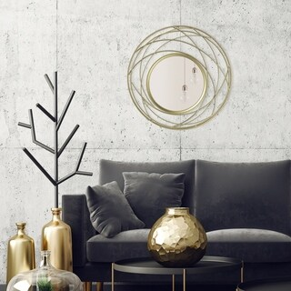 Patton Wall Decor Champagne Metal Round 24-inch x 24-inch Wall Accent Mirror