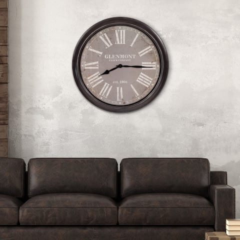 """30"""" Glenmont Distressed Black and Grey Framed Wall Clock"""