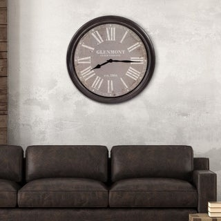 "30"" Glenmont Distressed Black and Grey Framed Wall Clock"