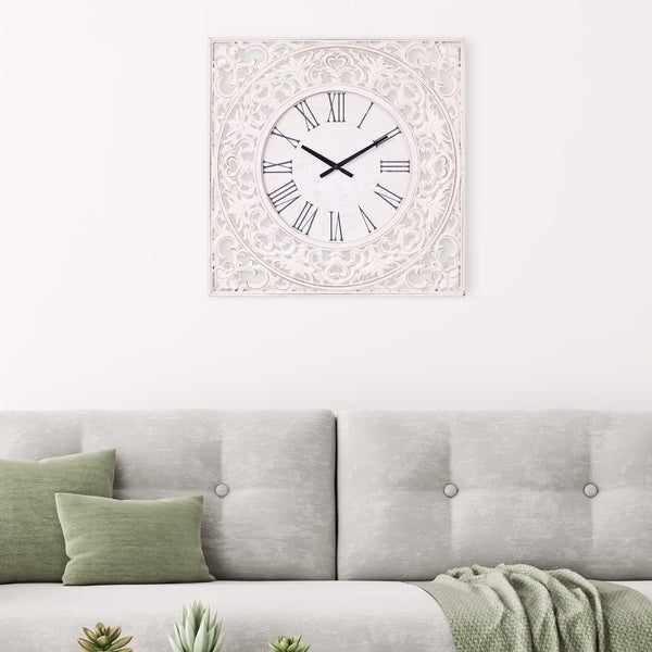"""Patton Wall Decor 24"""" Distressed White Ornate Wood Carved Wall Clock. Opens flyout."""