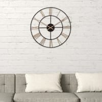 """20"""" Black and Gold Metal Cut Out Roman Numeral Wall Clock"""