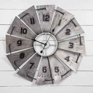 "Gallery Solutions 31"" Galvanized Metal and Wood Windmill Wall Clock"