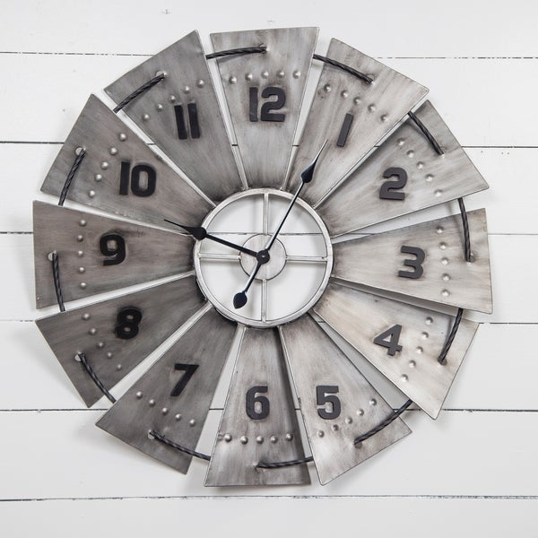 """Gallery Solutions 31"""" Galvanized Metal and Wood Windmill Wall Clock"""