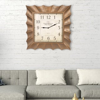 "Patton Wall Decor 30"" Gold Scallop Framed Square Wall Clock"