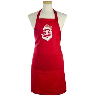 Kaufman -Full length Merry Christmas Apron Embroidered with adjustable neck, 2 pockets