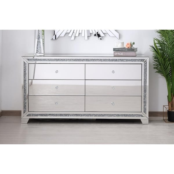 Crystal Mirrored 6 drawer cabinet