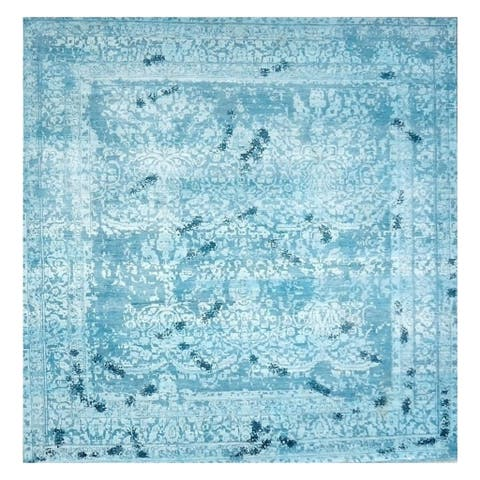 Handmade Herat Oriental Indo Hand-knotted Distressed Wool Rug (10' x 10') - 10' x 10'